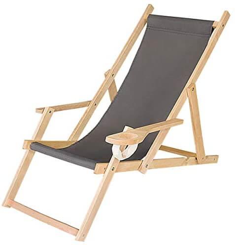 FEROCITY - chaise longue pliable en bois - transat pas cher